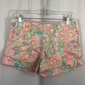Lilly Pulitzer Womens Shorts Size 0 Pink Green